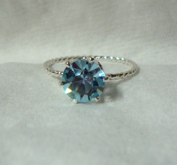 Alexandrite ring - color change blue to pink 6 -7.5mm zandrite eco-friendly  sterling silver, simulated lab stone - Custom Made in your Size