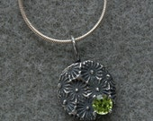 Cactus Flower pendant of fine silver and peridot