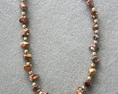 Caramel necklace with freshwater pebble pearls, Swarovski pearls and gold