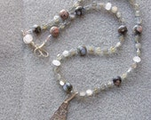 Velvety Mist pendant necklace and earrings with blue rhyolite, labradorite, rose quartz and sterling silver