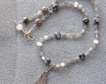 Velvety Mist pendant necklace with blue rhyolite, labradorite, rose quartz and sterling silver