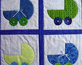Blue and Green Baby Buggies Quilted Wall Hanging by Made Marion