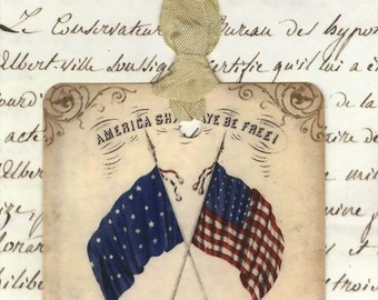 Gift Tags - Patriotic Tags -  Fourth of July Tags -   Red , White and Blue Flags - Vintage Tags - Rustic Tags - Shabby Tags