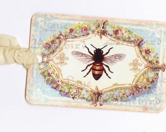 Vintage French Bee Gift Tags , Bee Tags , Blue Tags , Bee and Flowers , Tags with Ribbons