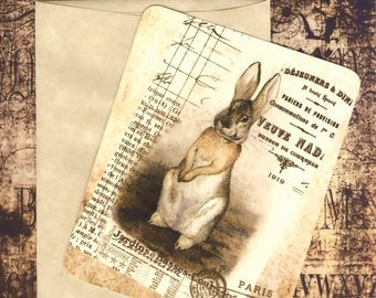 Flat Note Cards , Rabbit Note Cards , French Note Cards , Vintage Rabbit Cards
