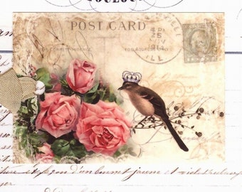 Bird with Crown Tags Vintage Style French Bird and Roses by Bluebird Lane