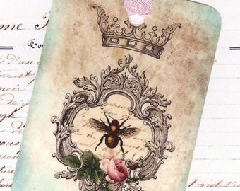 French Country Tags - Bee Gift Tags - Vintage Style -  Crown Tags - French Country Tags , French Farmhouse , Tags by Bluebird Lane