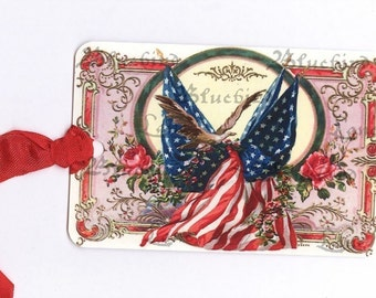 Vintage American Flag  Gift Tags -  Fourth of July Tags  -  by Bluebird Lane