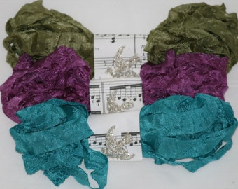 Crinkled Seam Binding  Ribbon - 18 YARDS -Bohemia - Teal - Purple - Green - Vintage Style Ribbon