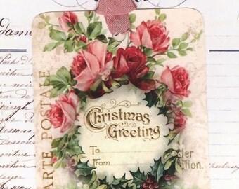 Christmas Gift Tags , Pink Christmas Tags  , Shabby Style Pink Christmas