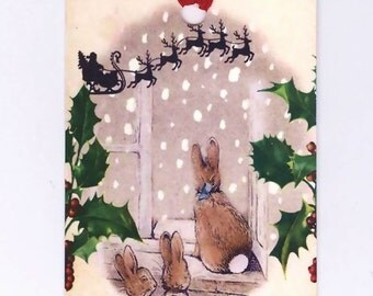 Christmas Gift Tags Rabbits and Santa's Sleigh, Vintage Style, Woodland,  Nature