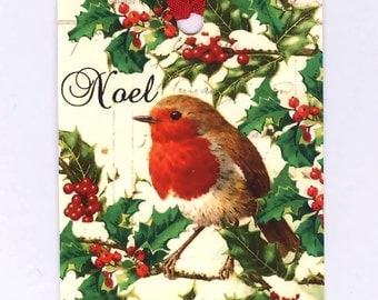 Bird and Holly Christmas Tags  ,  Noel , Gift Tags , Woodland Christmas , Holiday