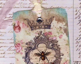 Gift Tags  -  French Theme Tags -   Bee Tags  -  Aqua Tags - French Bee Tags , Shabby and Chic , Tags with Bling