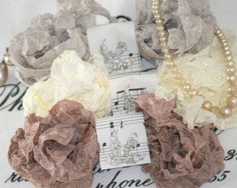 Crinkled Seam Binding  ,  Beige Ribbon , Greige Ribbon , Cream Ribbon , VINTAGE PEARLS , Bluebird Lane