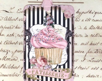 Cupcake Gift Tags , Patisserie , Pink and Black , Shabby , Chic , Cottage Style