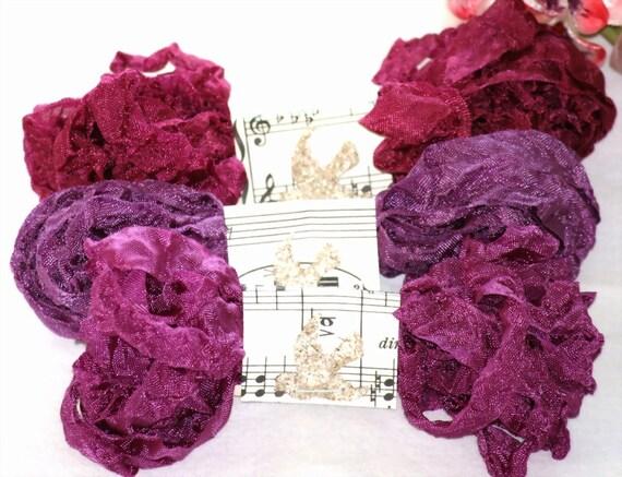 Seam Binding Ribbon  - 18 YARDS - AUTUMN BERRIES  - Purples - Crinkled , Shabby Ribbon , Vintage Style Ribbon