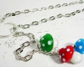 Colorful Mushrooms Necklace, a Lariat of Red, Blue and Green Mushrooms