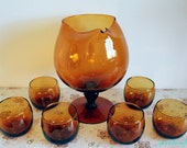 60's amber orb glass cocktail set - mint