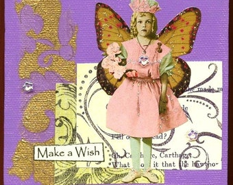 Mixed Media Collage On Canvas - Whimsical Angel/Fairy Child