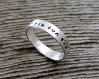 Two Sided Custom and Personalized Tiny Text Ring in Sterling