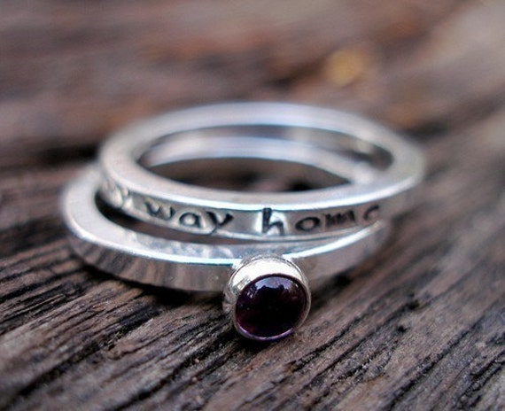 Sterling Stack Message Ring-Set of Two-I Will Never Forget My Way Home with Amethyst