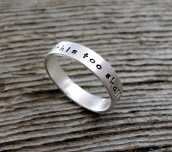 This Too Shall Pass Tiny Text Ring in Sterling