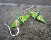 Origami Mini Paper Crane Earrings - Green, Yellow