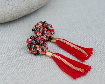 Textile chandelier earrings