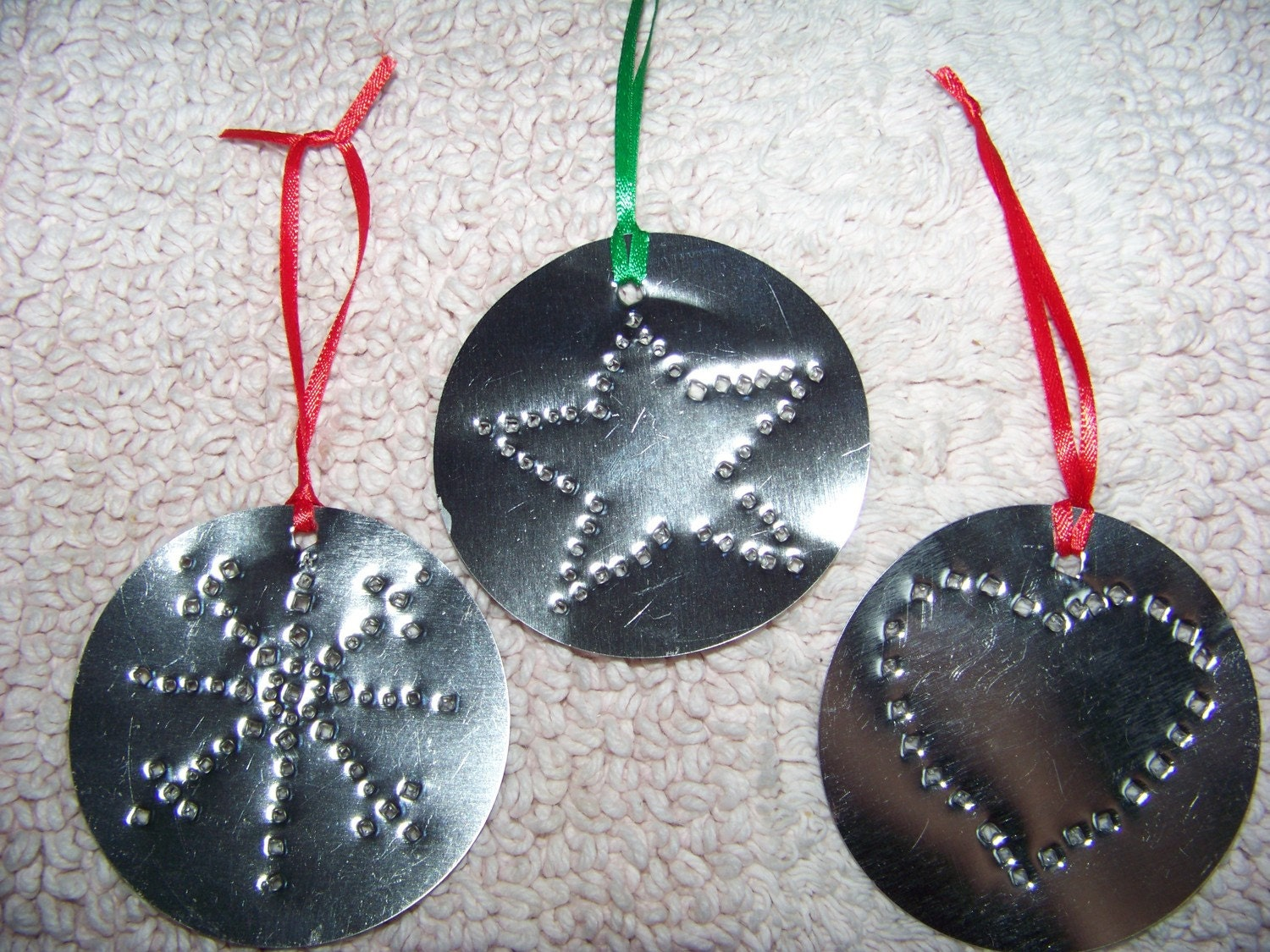 Set of tin punched christmas ornaments by lindascraftsnmore