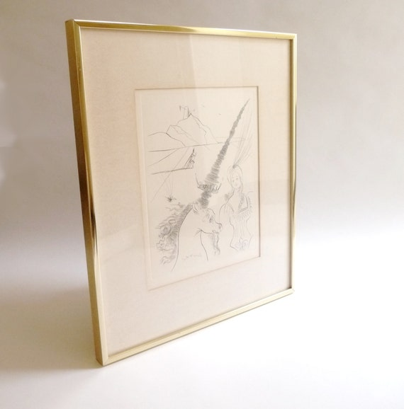"Salvador Dali Limited Edition Etching ""Lady And The Unicorn"""