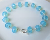 Oasis - Aqua glass and sterling silver bracelet