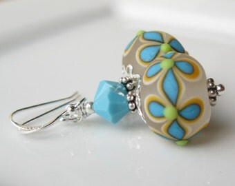 Summer Bloom Lampwork and sterling silver earrings