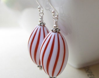 Peppermint Twist  Earrings Vintage lucite Christmas winter
