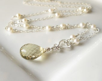 Morning - Lemon yellow quartz and white pearl necklace sterling silver bridal wedding