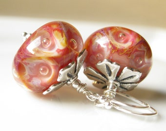 WIld Honeysuckle Earrings Boro Lampwork