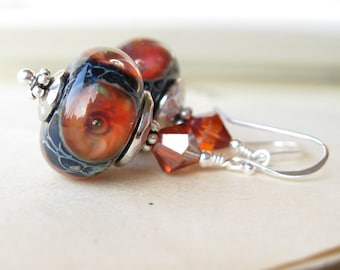 Lava Pools Earrings Boro lampwork