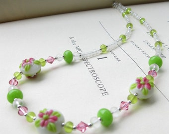 Flower Garden Necklace Handmade lampwork with frosted glass, Swarovski crystal and sterling silver in pink and green