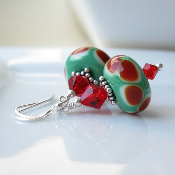 Sterling silver Lampwork earrings in red and green