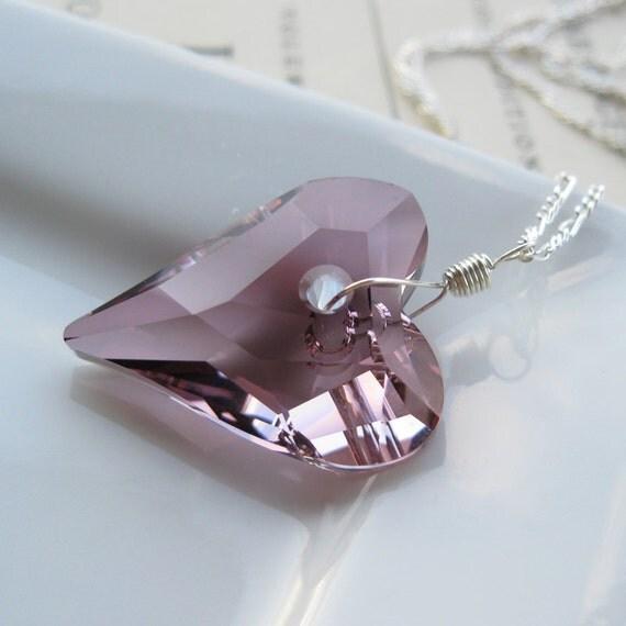 Antique Pink crystal heart pendant necklace - Big Love
