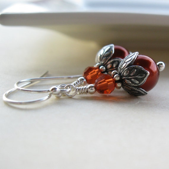 Fireside Earrings  Fire Red glass Pearl and crystal