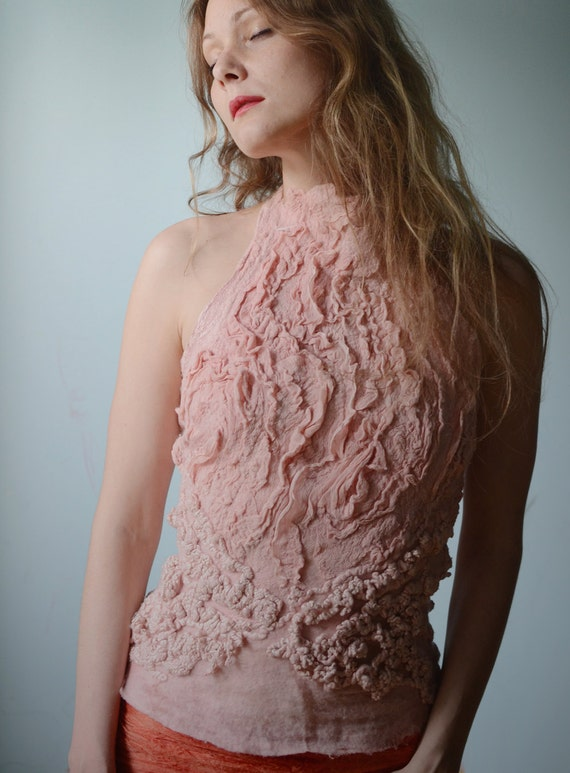 Eco fashion top  Nuno felted top in light classic rose from natural silk and wool dyed with plants OOAK