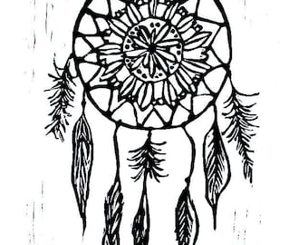 "dreamcatcher linoleum block print - 11"" x 14"" wall art"