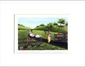 "Evie Anderson Pembroke Welsh Corgi Art SIGNED PRINT ""Kick Butt Herding Hat""  (signed, matted)"