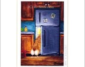 "Evie Anderson Welsh Corgi Art SIGNED PRINT ""Midnight Fridge Raid""  (quality, signed, matted)"