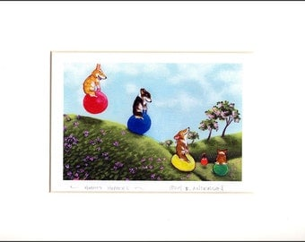 "Evie Anderson Welsh Corgi Art SIGNED PRINT ""Hoppity Hoppers""  (signed, matted) Pembroke Welsh Corgis"