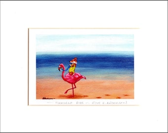 "Evie Anderson Welsh Corgi Art SIGNED PRINT ""Flamingo Ride""  (quality, signed, matted)"