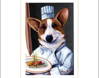"Evie Anderson Welsh Corgi Art SIGNED PRINT ""Chez Gwenevere""  (signed, matted) Pembroke"