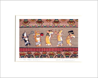 "Evie Anderson Egyptian Corgi Art SIGNED & MATTED PRINT ""The Short Dynasty""  Pembroke Welsh Corgis"