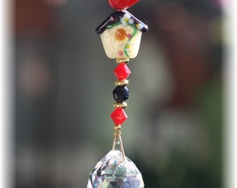 Red Bird/Flowered Birdhouse Suncatcher with 20mm Austrian Crystal Ball Prism with Handmade Hanger, Unique Gifts, Car Mirror Ornament