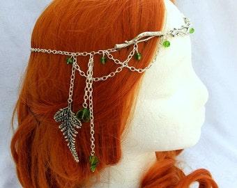 Forest Elf Branch and Fern Silver Circlet, Bridal Head Piece, Bridal Hair, Fairy Circlet, Elven Headpiece, Renaissance Crown